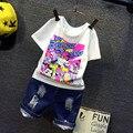 Roupas da criança crianças roupas meninas conjuntos de verão impressão de manga curta camisa + Jeans conjuntos de roupas meninas meninas roupas 2-8a