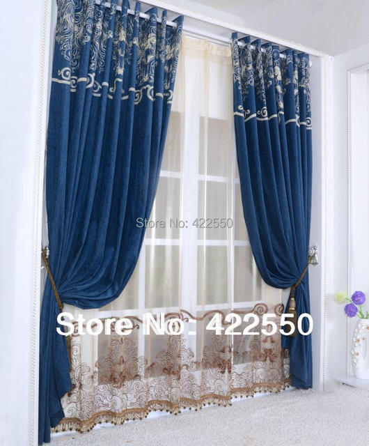 Continental chenille navy blue curtain fabric living room bedroom ...