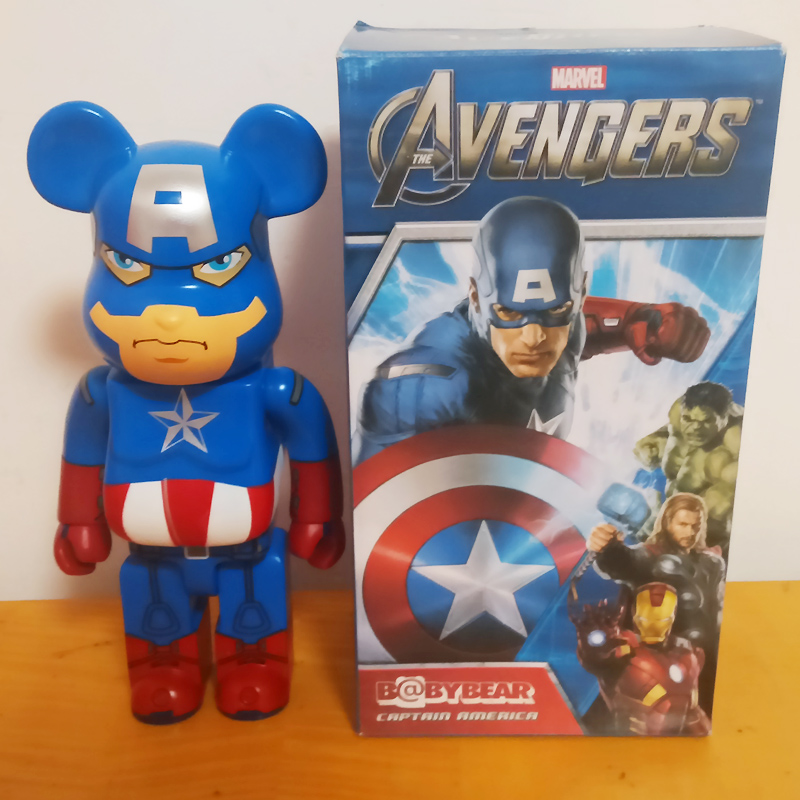 11inch 400%bearbrick be@rbrick medicom toy Captain America fashion toy W/Original Box high quality oversize 52cm bearbrick be rbrick matt diy pvc action figure toys bearbrick blocks vinyl doll 3 color optional