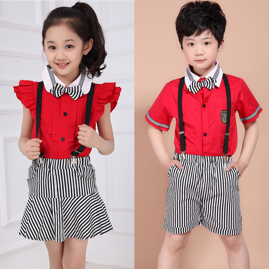 6c61904c4260 2018 new summer school uniforms clothing sets boys girls striped overalls  skirts shorts 2-12 age kids children clothes suits 509