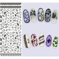 1 sheet DIY Water Transfer Nail art Stickers Gray Lace And Leaves DesignNail Sticker Wrap Decal Tattoo Decals Manicure