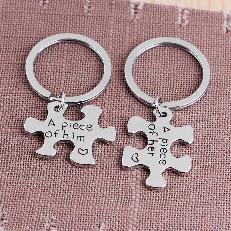 a9df1c00bf6d9 ... Hand Stamped Personalized Key Chain  A Piece of Him and Her  Couples  Keychains Puzzle ...