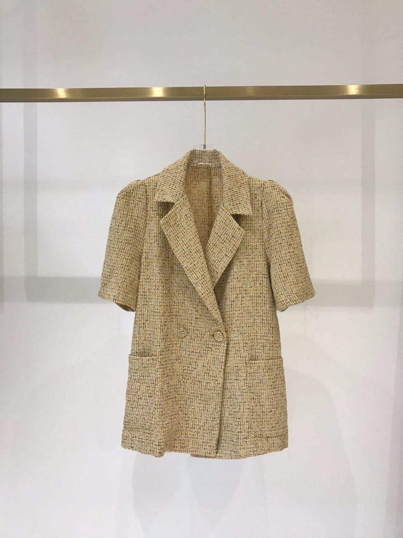 2019 new ladies high quality fashion short sleeve back open jacket 0517