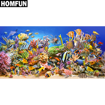 HOMFUN Full Square/Round Drill 5D DIY Diamond Painting Fish marine coral 3D Embroidery Cross Stitch Home Decor Gift A01119