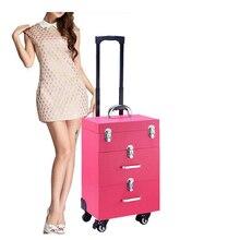 Косметичка На Колесиках чемодан Профессиональный чемодан для макияжа Тележка коробка гвозди красота женщина багаж дорожная косметичка колеса
