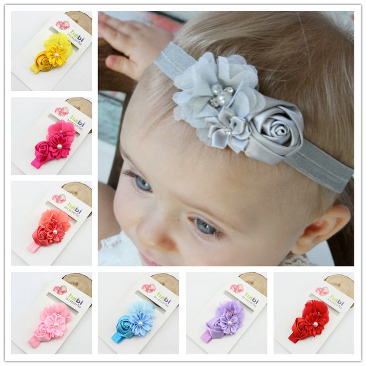 Baby Headband Ribbon Handmade Flower DIY Toddler Infant Kid Floral Hair Accessories Girl Newborn pearl Turban Elastic rose baby headband ribbon handmade flower diy toddler infant kid floral hair accessories girl newborn pearl turban elastic rose