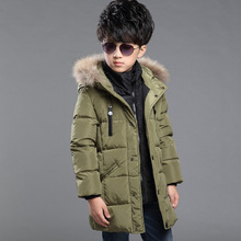 2016 new boys winter jacket and coats children's clothing kids winte jacket coat with fur hood long warm thick boys winter coat