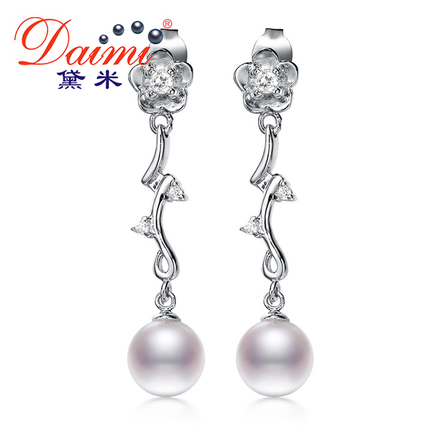 DAIMI 925 Silver Long Earrings 8-9mm Perfect Round Pearl Drop Earrings Fine Jewelry Gift For Women