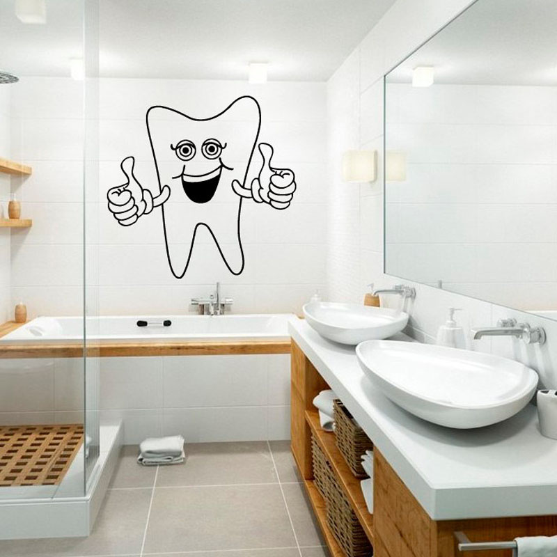 dctop casalinghi felice dente sorridente adesivi murali piastrelle del bagno della parete decalcomanie arredamento casa impermeabile
