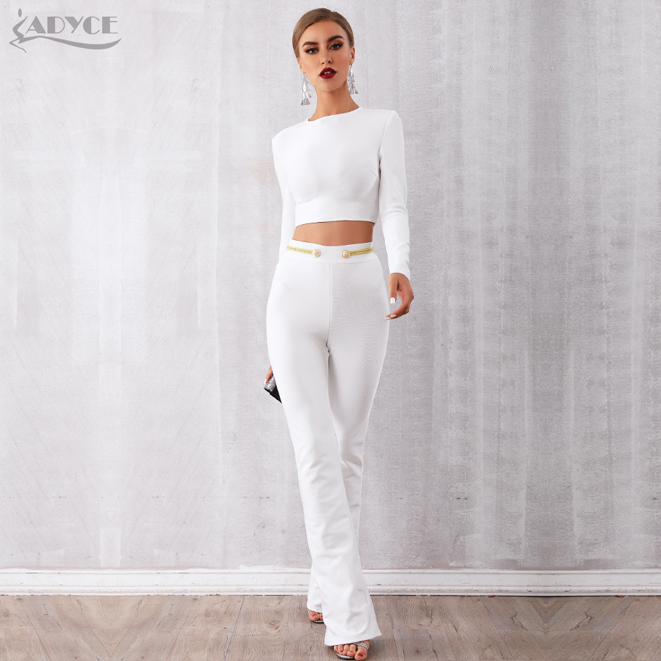 Adyce 2019 New Winter Women Club Bandage Sets Vestidos White Tops amp Pant 2 Two Pieces Set Night Out Celebrity Evening Party Sets in Women 39 s Sets from Women 39 s Clothing