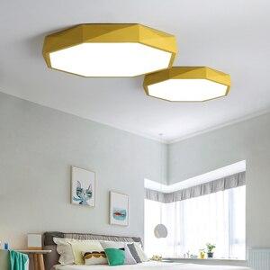 Image 5 - Macaron צבע תקרת LED נברשת העגול דקה נברשת תאורה למיטה חדר ילדים LEDlamp lamparas דה techo
