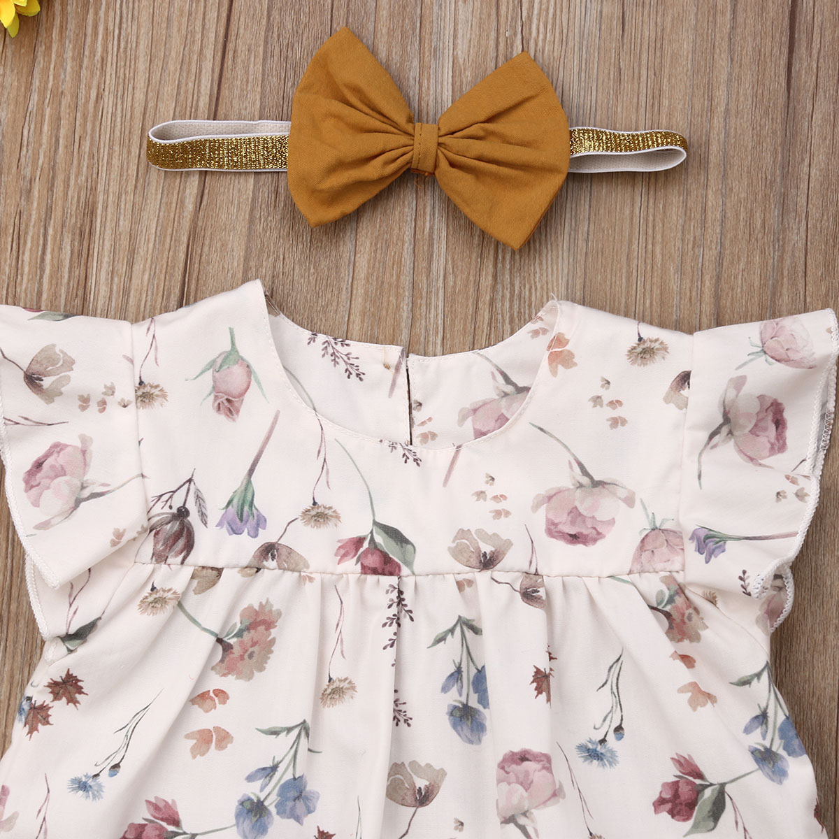 0 3T Infant Baby Girls 4Pcs Outfit Ruffle Sleeveless Floral Tops Solid Short Pants Headband Hat Baby Casual Summer Clothes in Clothing Sets from Mother Kids