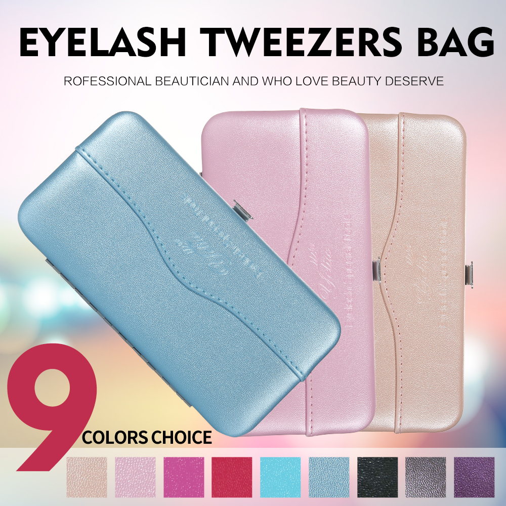 Portable Eyelash Tweezers Box Private Label Lashes Extensions Tools Bag Eyelashes Tweezers Cosmetic Case 9 Colors