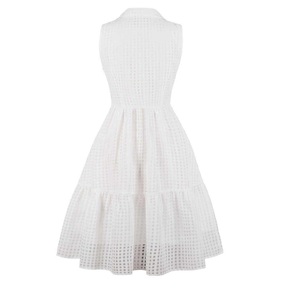 Sisjuly плюс размер лоскутное многослойное клетчатое белое платье с отворотом глубокий v-образный вырез молния без рукавов драповое офисное женское платье для работы