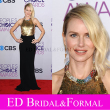 Naomi Watts Kleid Peoples Choice Awards 2013 Gold Pailletten Prom Kleid Halter-Backless Chiffon Abendkleid Berühmtheit Kleid