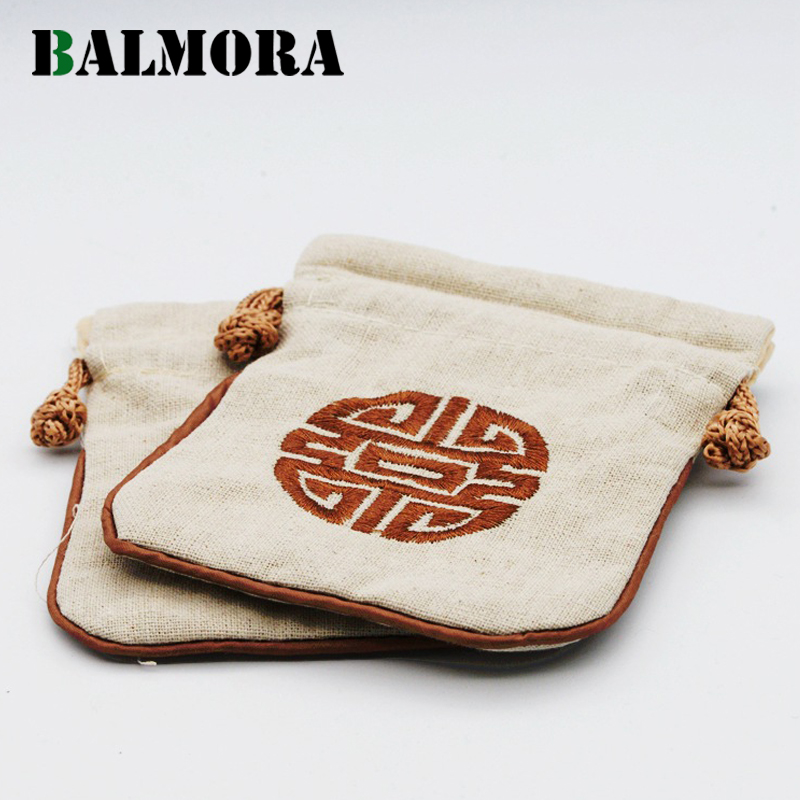 BALMORA 1 Piece Drawstring Linen Jewelry Packaging Bag Gift For Ring Earrings Pendant Bracelet Necklace Retro Fashion WBH0114