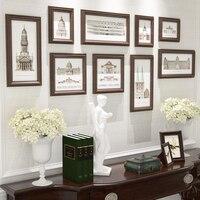 Collage Photo Frame,9 pcs/set Vintage Picture Frames Porta Retrato,Square Wall Picture Frame,Antique Photograph Frame Lot