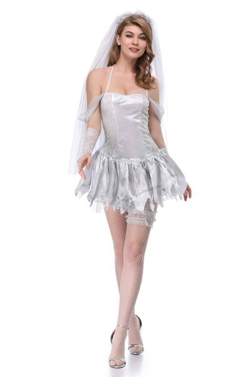 Bride Costume Sexy For Halloween Cosplay White Bride Wedding Dress Sexy  Game Clothes Role,playing Costume Uniform Short