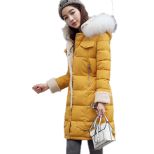 2016 New Fashion Cotton Coat Solid Loose Plus Size Winter Jacket Women Fur Hooded Jacket Artificial