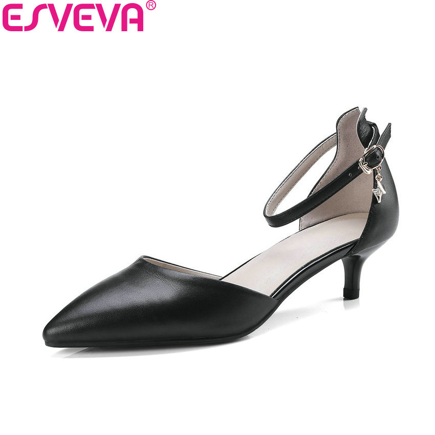 ESVEVA 2018 Women Pumps Buckle Shallow Thin Med Heels Cow Leather PU Pointed Toe Simple and Fashion Pumps Women Shoes Size 34-41 fashion women s pumps with engraving and pu leather design