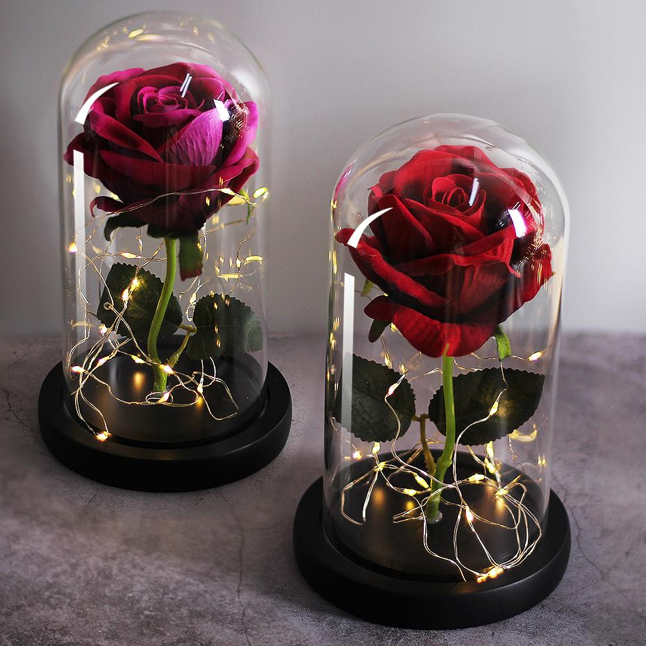 LED Eternal Flower Immortal Flora Light Up Dome Beauty and The Beast Rose In A Flask Valentine's Day Birthday Christmas Day Gift