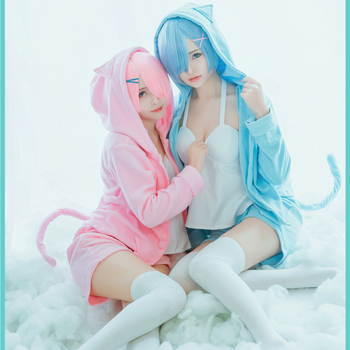 Pink/blue Rem Ram Pajama Set Re:Life in a Different World From Zero Cos Rem Ram Sexy Cat Ear Costume Women Anime Cosplay Pajamas