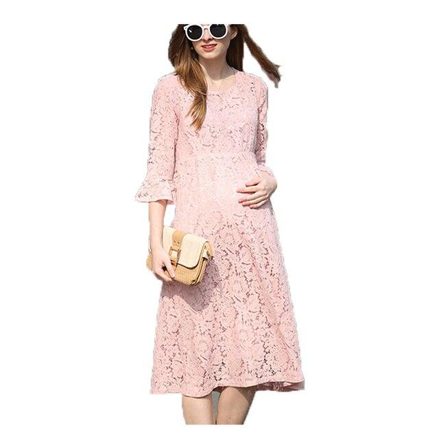 Женщины Платья Весна Новая Мода 2017 Для Беременных Dress Свободные Кружева Длинные Беременных женщин Одежда Для Беременных Уход Платья