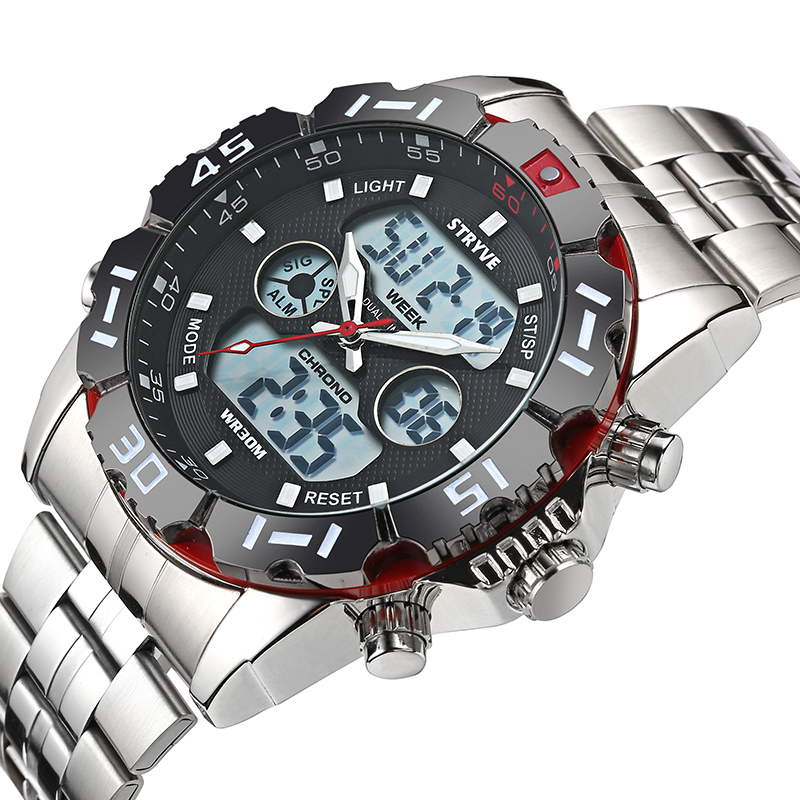 Image 3 - Stryve 8011 Relojes Brand Waterproof Military Sport Watches Men Stainless Steel Digital Quartz Dual Display Watch montre hommeDigital Watches   -
