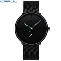 CRRJU Quartz Watch men Casual Black Japan quartz watch stainless steel Face ultra thin clock male Relogio 2150 Hot Sale