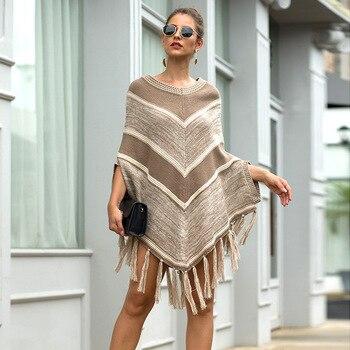 HEE GRAND Women batwing Sleeve Pullovers 2019 Autumn New Tassels Sweaters Fashion Geometric Knitted Outwear O-neck Cloak WZL1512 2