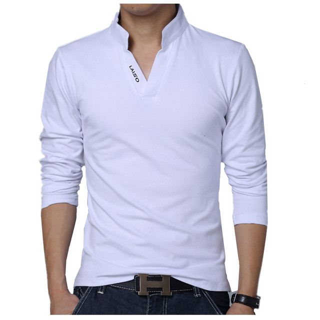 2018 Men Fashion Boutique Cotton Leisure Stand Collar Long Sleeve POLO Shirts Mens Pure Color V-neck POLO Shirt Big Size S-5XL 1