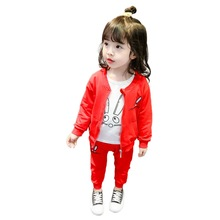 Girls Suit Spring And Autumn Models Female Baby Casual Coat Long-Sleeved T-Shirt Han Fan Cute Rabbit Cotton Three-Piece