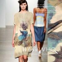 1 2m Pcs Europe And Printed Silk Shirt Dress Clothing Fabric Hemp Fabric Material Roam Free