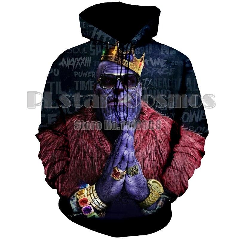 PLstar Cosmos fashion women men 3D Print Avengers:Infinity War Thanos Hood pullover Hoodies Sweatshirts pullover Jacket Hip Hop