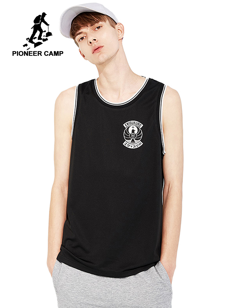 Pioneer camp new   tank     top   men brand clothing casual fashion sleeveless   tops   male quality loose tanktop men black ABX803044