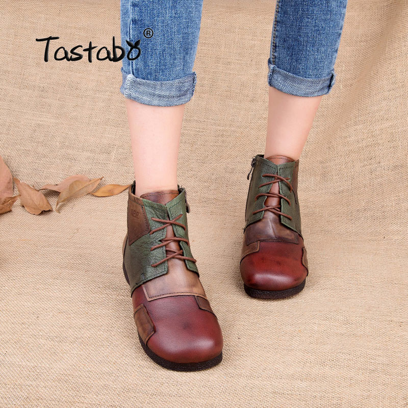 Tastabo Handmade Boots For Women Ladies Ankle Shoes Flats Vintage Shoes Genuine Leather Women Boots Large Size tastabo 2017 fashion handmade boots for women ankle shoes vintage mom shoes folk style sapphire genuine leather women boots