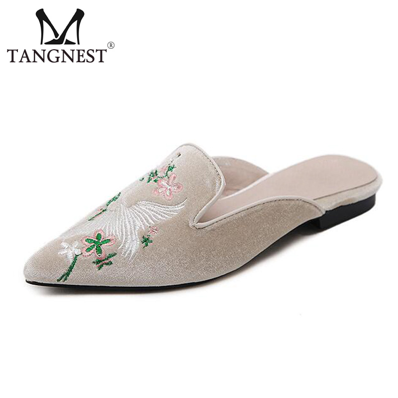 Tangnest Luxury Brand Embroider Flats Woman NEW Autumn Pointed Toe Slide Shoes Fashion Suede Leather Slingbacks Shoes  XWD6063 pu pointed toe flats with eyelet strap