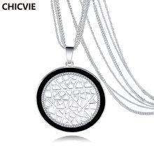 Chicvie ожерелья и подвески серебряного цвета с круглыми кристаллами