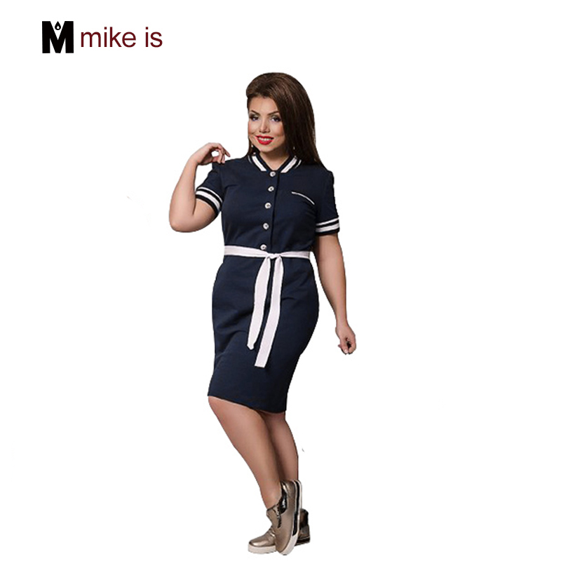 2018 Hot Selling Dress Plus Size Big Size Maxi 6XL Oversized Knee Length Straigth Patchwork Vestidos Sashes Casual Female Dress