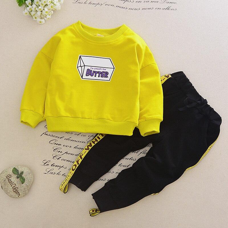 Autumn spring Children Baby kid's Boys girls Cartoon box print Pullover sweatshirt Top+casual Pants 2 pcs Clothes Set Suit Y2683 ralph lauren girls cotton neon sweatshirt pullover top