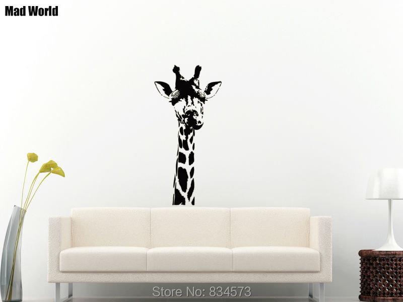 Safari Wall Art mad world giraffe head animals jungle safari wall art stickers