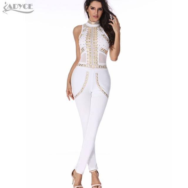 2016 nuevas mujeres atractivas de los mamelucos del mono blanco de lujo con lentejuelas de malla patchwork partido de tarde de bodycon señora runway caliente catsuit jumpsuit