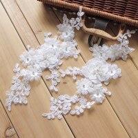 1 Pair = 2 Sztuk 26*11 CM Ręcznie PODŁUBAĆ Rozpuszczalne Koronki Haftowane Nail Frezowanie Koronka Aplikacja Na Ślub suknia Bridal Veil Akcesoria