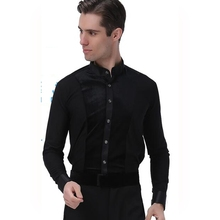 Male Latin Dance Long-sleeve Black Shirt  Companionship Dance Shirt  Latin Dance Shirt Square Dance Costume