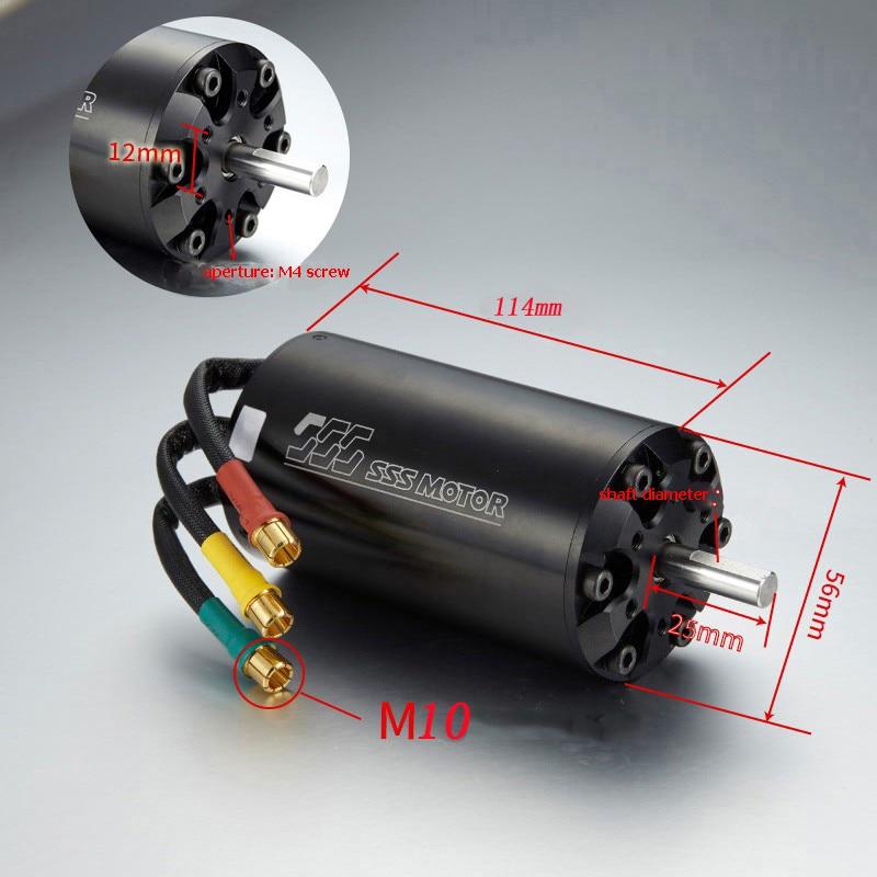 1PC SSS 56114 6 pole Bushless Inner Rotor Water cooled Motor KV360 KV420 KV500 13000W Shaft Dia 10mm Spare Parts for RC Model