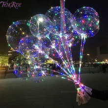 FENGRISE LED Bobo Balloons With Luminous Ballons Transparent Round Bubble Balloon Birthday Wedding Party Decor Baby Shower