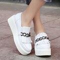 Европейский улица свободного покроя стиль удобные натуральной кожи вокруг пальца туфли на высоком каблуке мода цепи кисточкой скольжения на мед с женской обуви