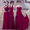 Chiffon Maid Of Honor Dresses Floor Length Pleats Sweetheart Neckline Different Style A Line Long Burgundy Bridesmaid Dress