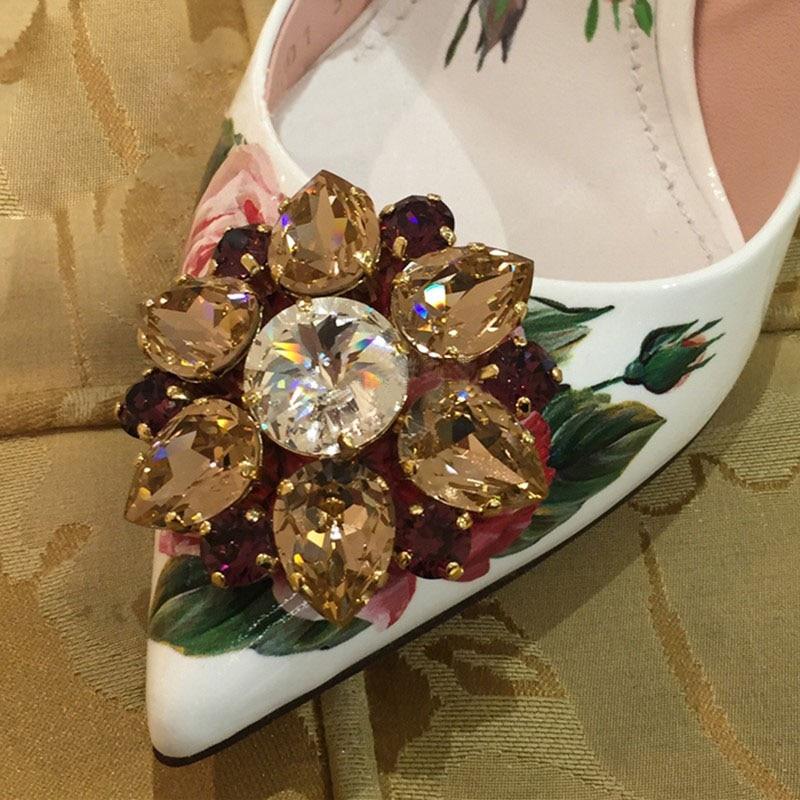 Flats Date Chaussures Soirée Cristal Femmes high Imprimer Talons Bout Strass Heels Femme Fleur Rose Pointu Diamant De Hauts Pompes Luxe Mariage wwrSUfxq