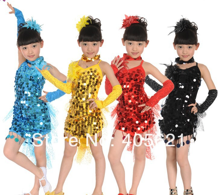 childrens latin dance performance clothing girls sequins dance veil skirt stage costumes stage wear 10set